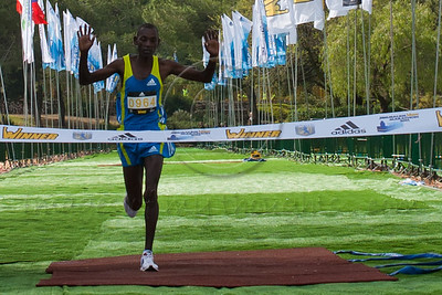 Kenyan Cheruiyot Robert Kiprotich first to cross official finish line at first Jerusalem International Full-Marathon that took place today with 10,000 participants. Jerusalem, Israel. 25/03/2011.