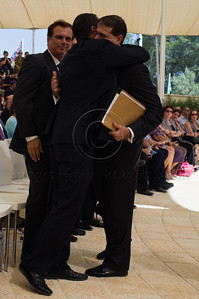 Jerusalem Mayor, Nir Barkat, warmly embraces US Ambassador to Israel, Daniel Shapiro, following his speech at a ceremony marking a decade since the 9/11 attacks. Jerusalem, Israel. 11/09/2011.