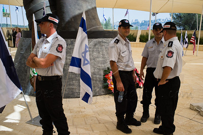 Israeli firefighters take part in a ceremony marking a decade since the 9/11 attacks. Jerusalem, Israel. 11/09/2011.