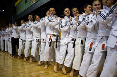 Polish team show comradeship and good spirits following the opening ceremony of the 2011 European Traditional Karate Championship hosted by the Traditional Karate Federation of Israel. Jerusalem, Israel. 17th November 2011.