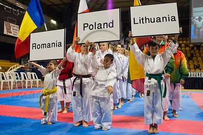 Teams of Romania, Poland and Lithuania take part in the 2011 European Traditional Karate Championship opening ceremony hosted by the Traditional Karate Federation of Israel. Jerusalem, Israel. 17th November 2011.