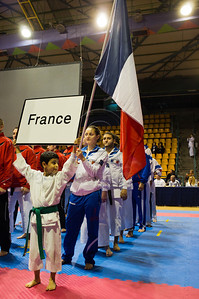 The French team takes part in the 2011 European Traditional Karate Championship opening ceremony with some 170 athletes from 15 countries in an event hosted by the Traditional Karate Federation of Israel. Jerusalem, Israel. 17th November 2011.