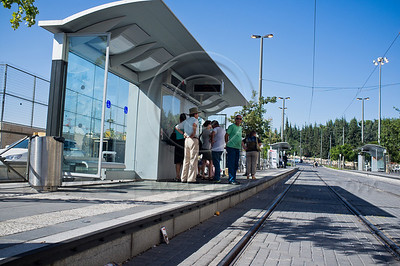 Passengers wait for the tram at the Yefe Nof Station. Jerusalem, Israel. 28/08/2011.