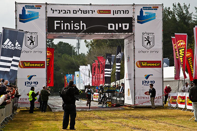 David Cherono Toniok, of Kenya finishes first in Jerusalem's second International 42Km Full Marathon with a time of 02:19:52. Jerusalem, Israel. 16-Mar-2012.