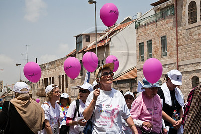 Women of all ages and races take part in Komen's second annual Israel Race for the Cure. Jerusalem, Israel. 3-May-2012.