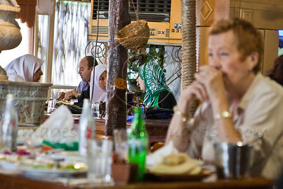 Arabs and Jews dine at a local restaurant. Kfar Qassem, Israel. 13-May-2012.